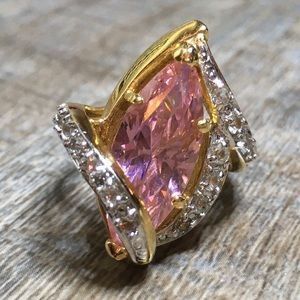 Gold-tone Pink Stone & Crystal Size 7 Ring
